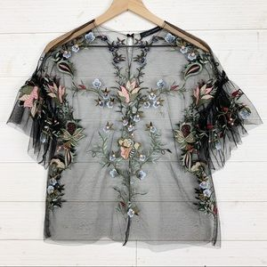 Zara Woman Floral Embroidered Sheer Tulle Top